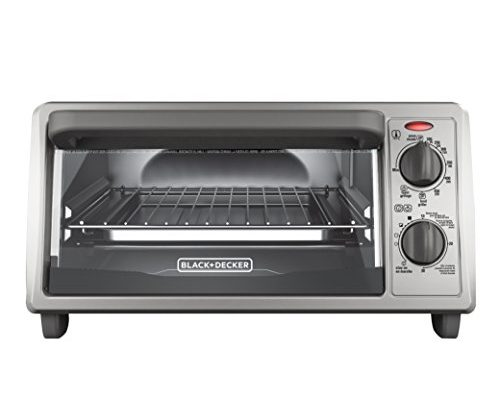 Black decker 4 slice countertop toaster oven stainless steel silver to1322sbd kitchenter for Toaster oven stainless steel interior